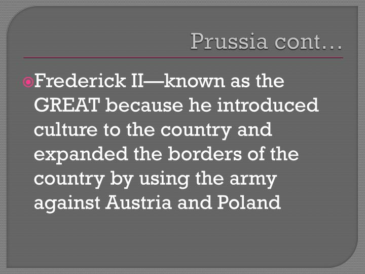 Prussia cont…