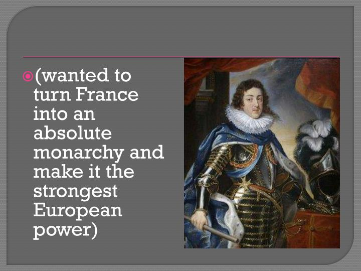 (wanted to turn France into an absolute monarchy and make it the strongest European power)