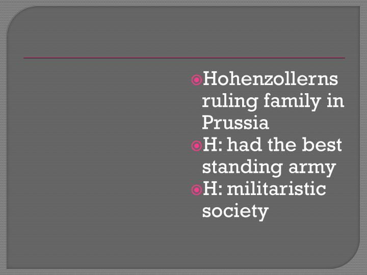 Hohenzollerns ruling family in Prussia