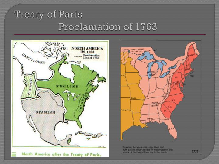 Treaty of Paris						         Proclamation of 1763