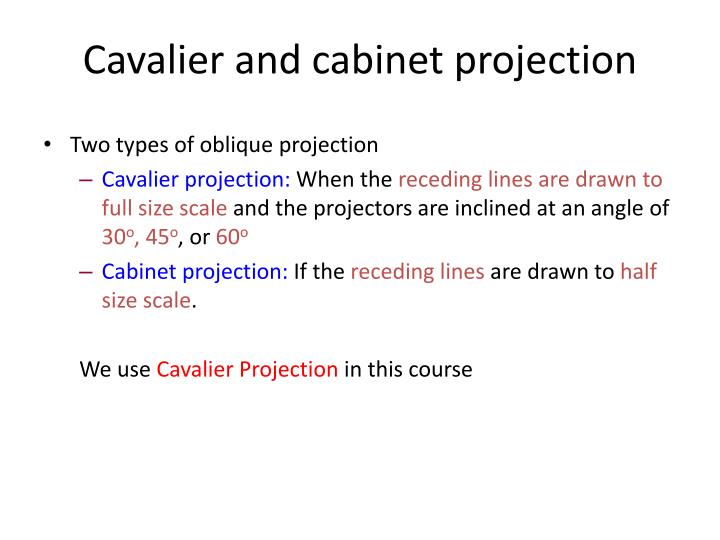 Cavalier and cabinet projection