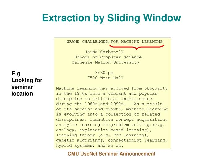 Extraction by Sliding Window