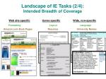 landscape of ie tasks 2 4 intended breadth of coverage
