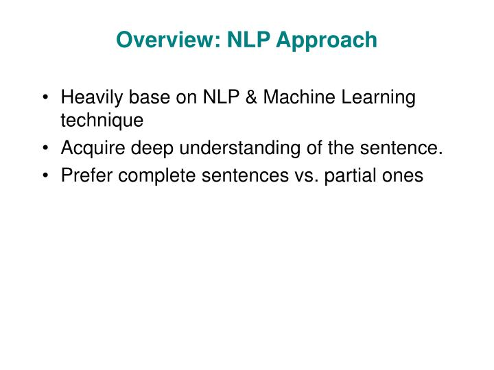 Overview: NLP Approach