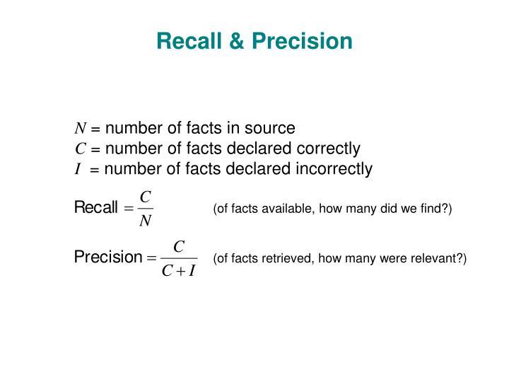 Recall & Precision