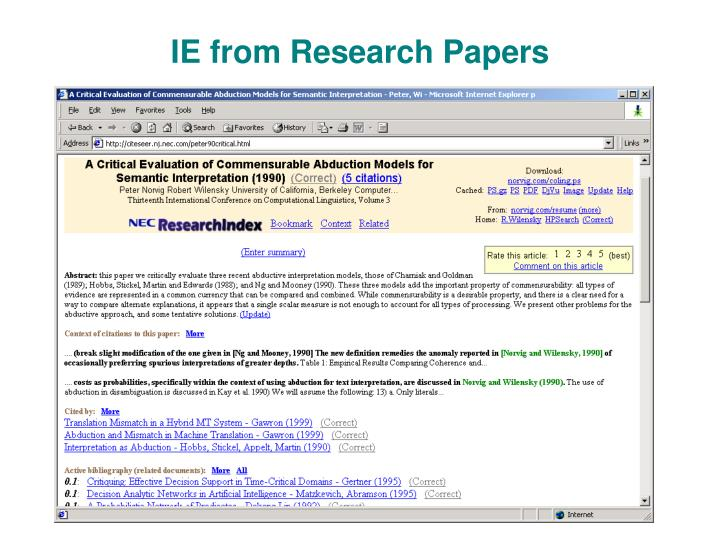 IE from Research Papers