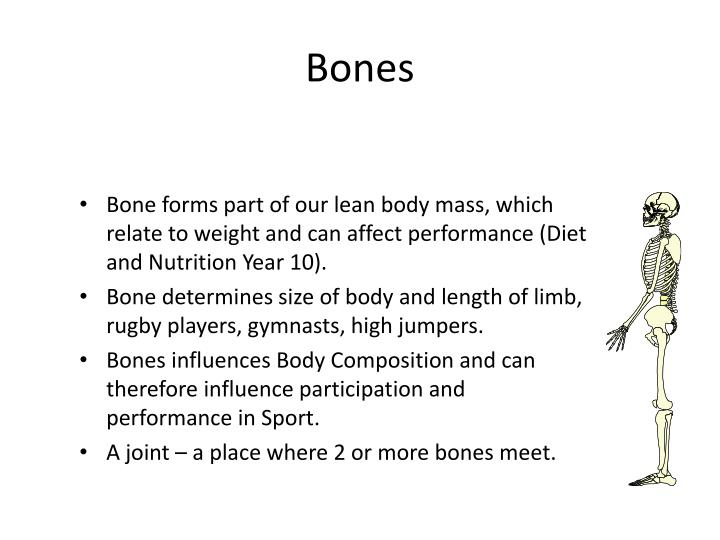 Bone forms part of our lean body mass, which relate to weight and can affect performance (Diet and Nutrition Year 10).
