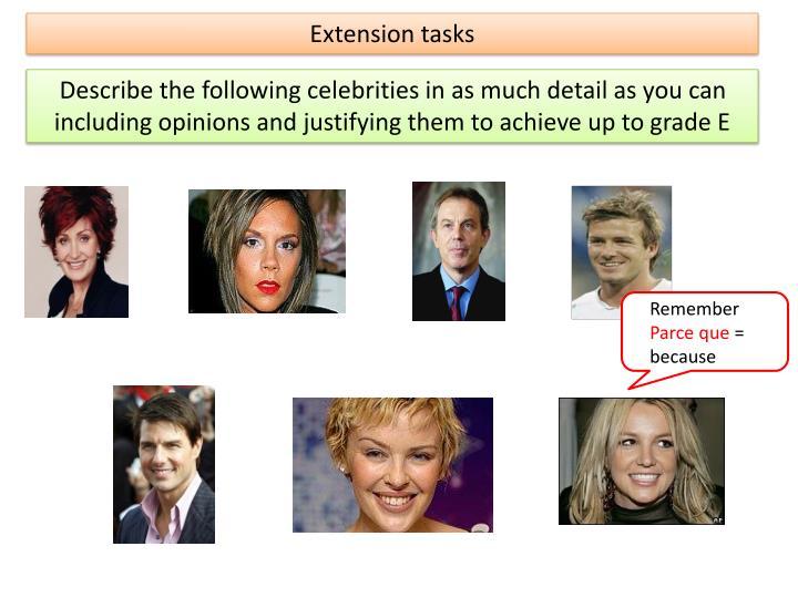 Extension tasks