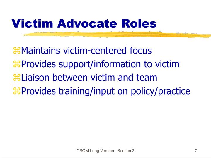 Victim Advocate Roles
