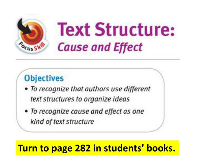 Turn to page 282 in students' books.