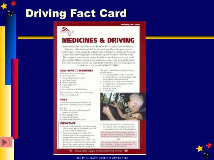 Driving Fact Card