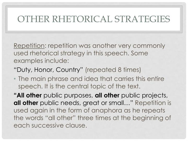 Other rhetorical strategies