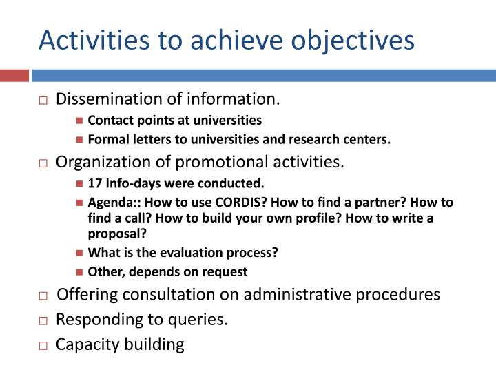 Activities to achieve objectives