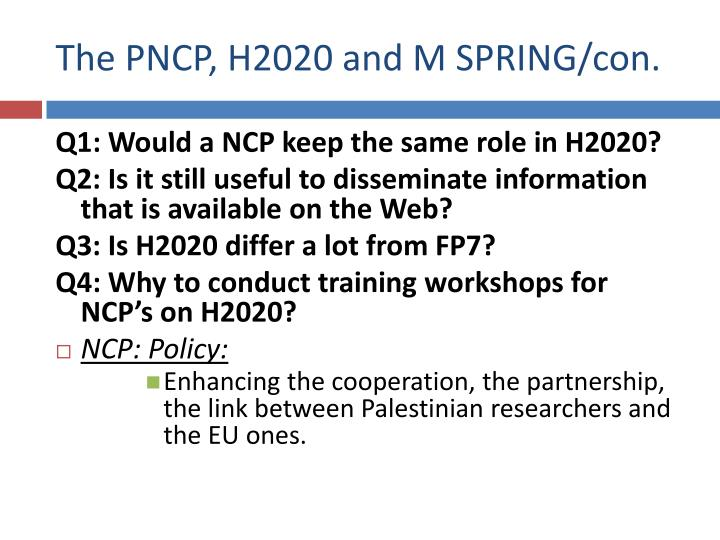 The PNCP, H2020 and M