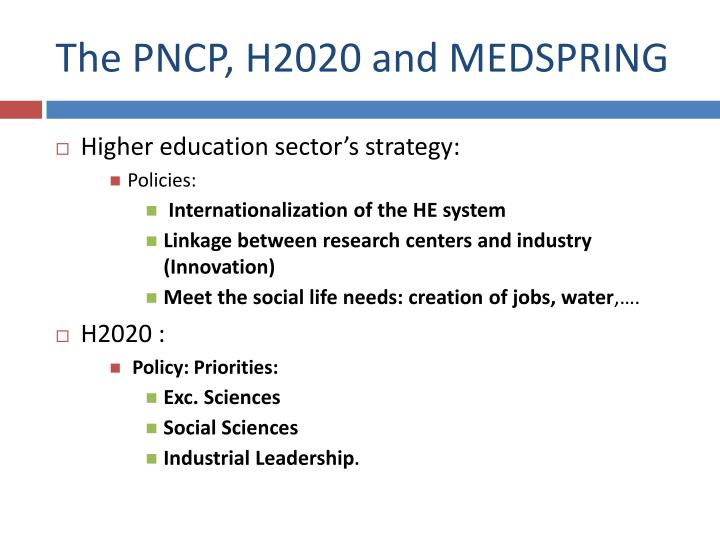The PNCP, H2020 and MEDSPRING