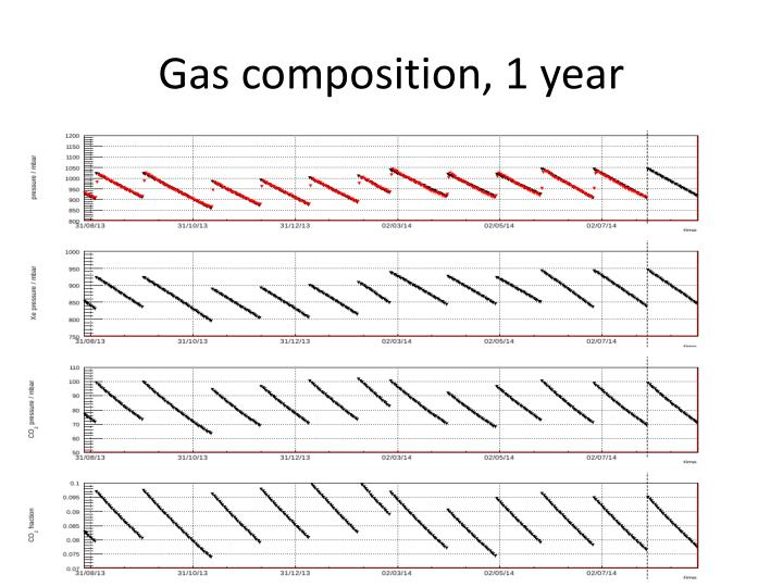 Gas composition, 1 year