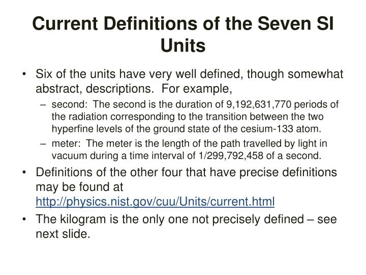 Current Definitions of the Seven SI Units