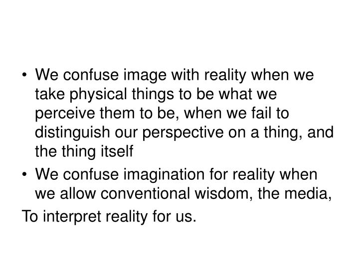 We confuse image with reality when we take physical things to be what we perceive them to be, when we fail to distinguish our perspective on a thing, and the thing itself
