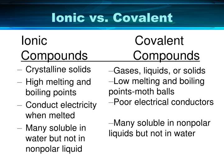 Ionic vs. Covalent