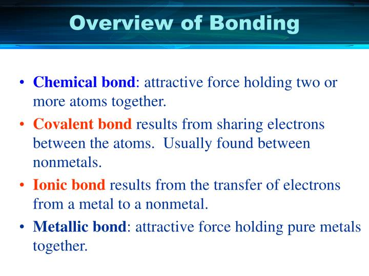 Overview of Bonding