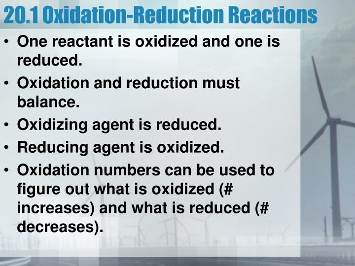 20.1 Oxidation-Reduction Reactions