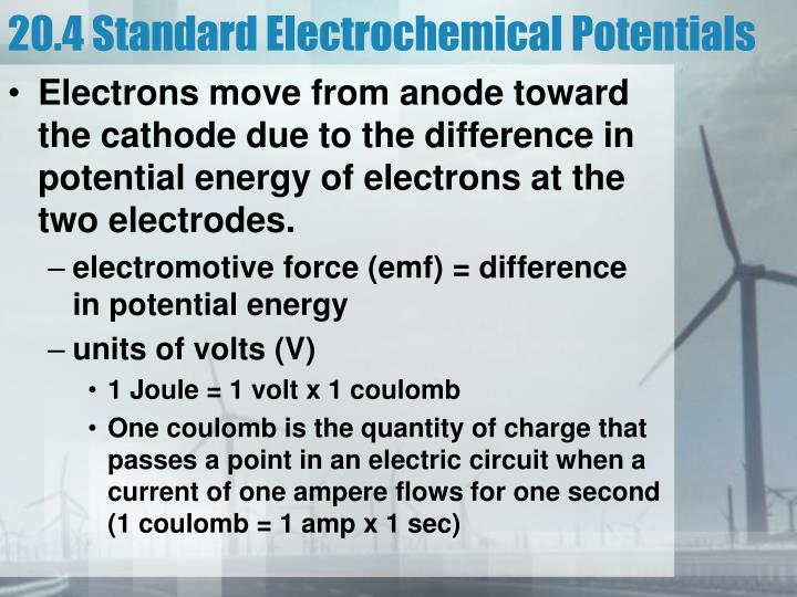 20.4 Standard Electrochemical Potentials