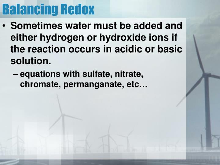 Balancing Redox