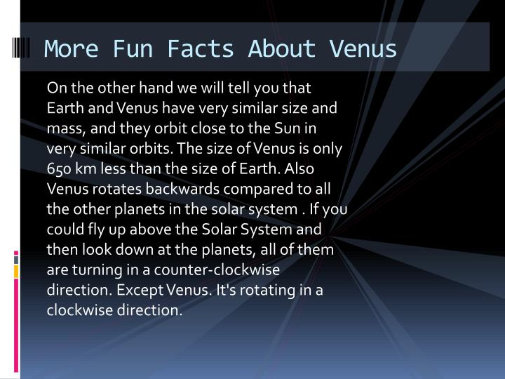 More Fun Facts About Venus