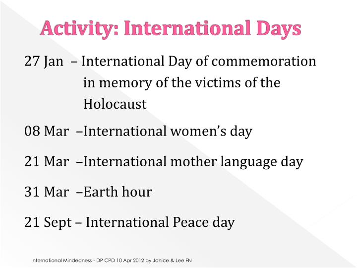 Activity: International Days