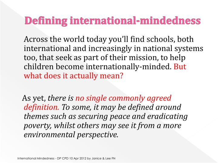 Defining international-mindedness