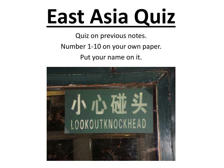 East Asia Quiz