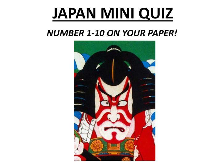 JAPAN MINI QUIZ