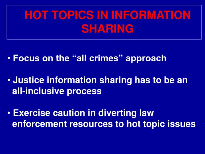 HOT TOPICS IN INFORMATION