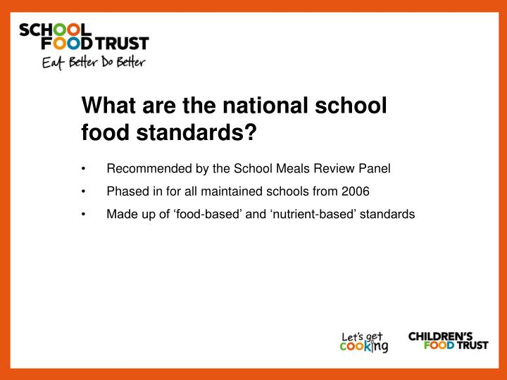 What are the national school food standards?