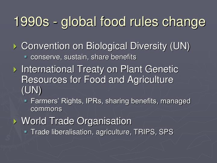 1990s - global food rules change