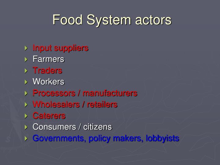Food System actors