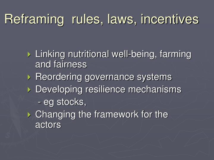 Reframing  rules, laws, incentives