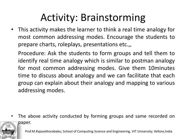 Activity: Brainstorming