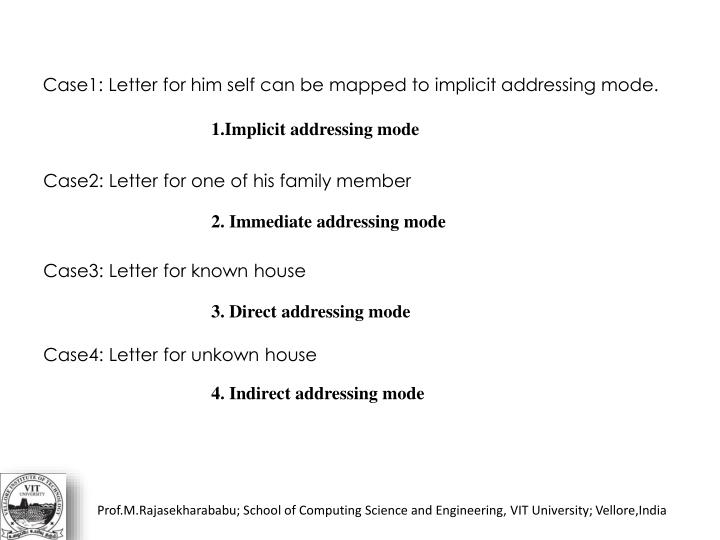 Case1: Letter for him self can be mapped to implicit addressing mode.