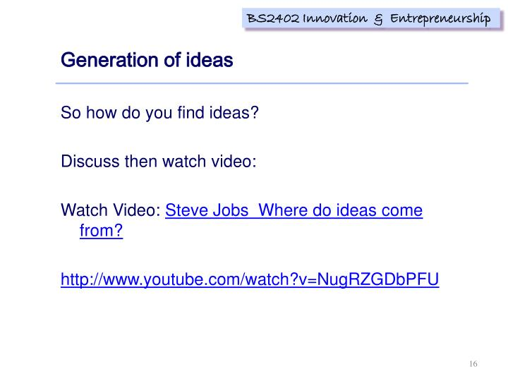 Generation of ideas