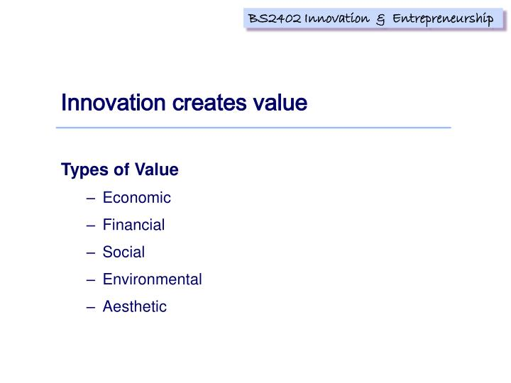 Innovation creates value
