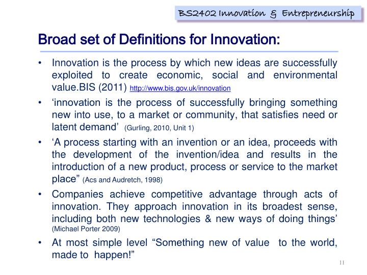 Broad set of Definitions for Innovation: