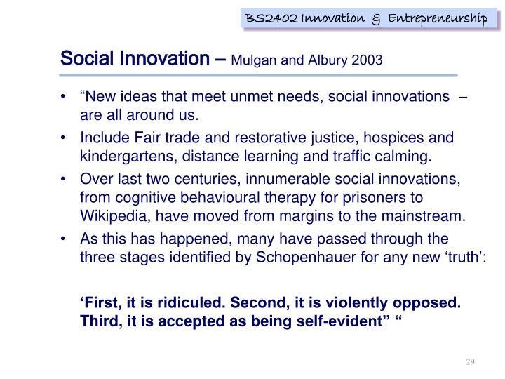 Social Innovation –