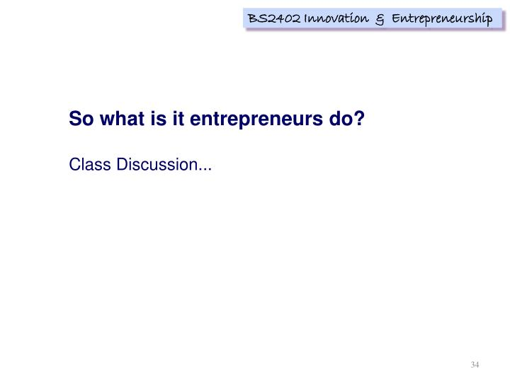 So what is it entrepreneurs do?