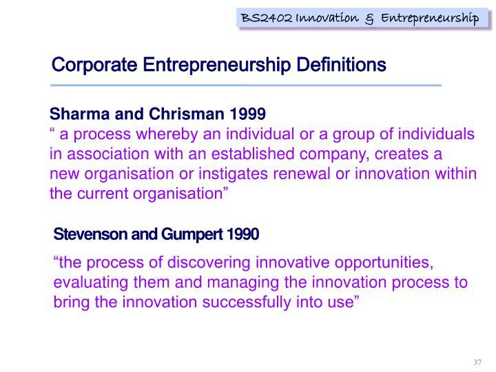 Corporate Entrepreneurship Definitions