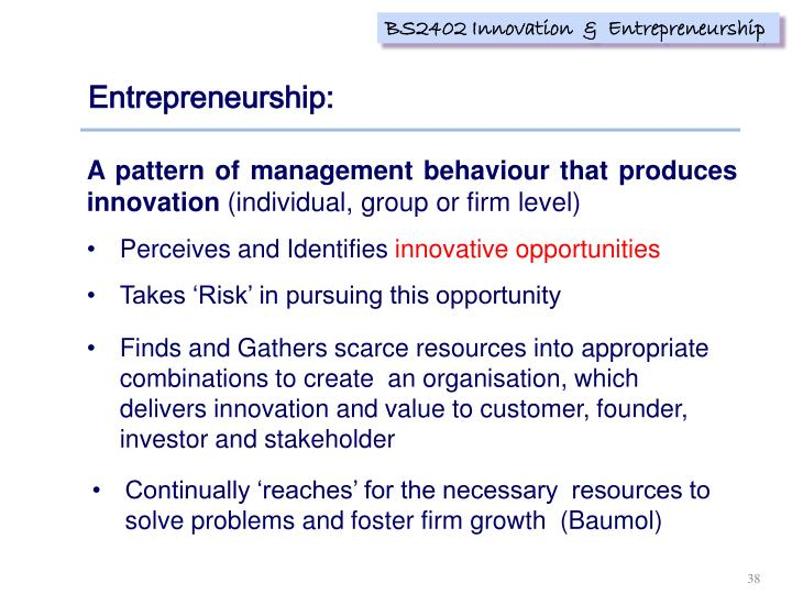 Entrepreneurship: