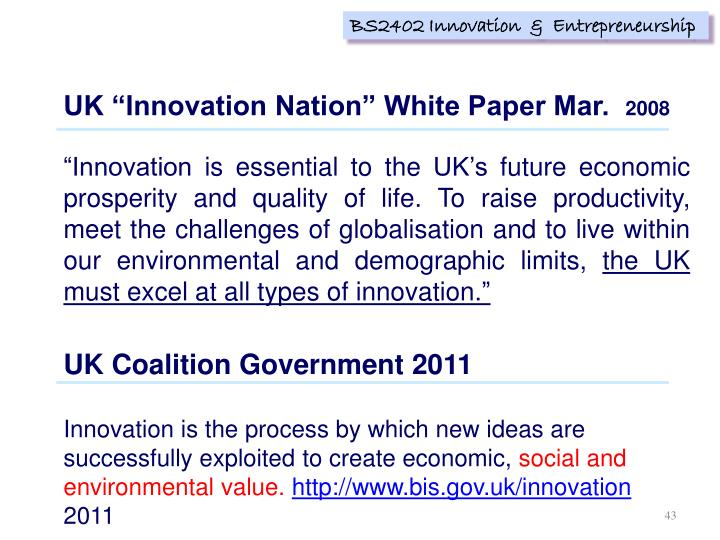 "UK ""Innovation Nation"" White Paper Mar."