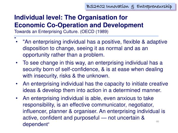 Individual level: The Organisation for Economic Co-Operation and Development