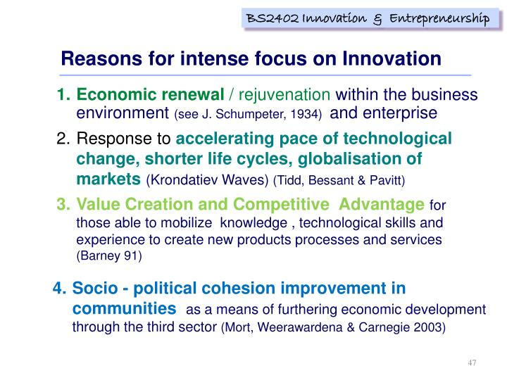 Reasons for intense focus on Innovation