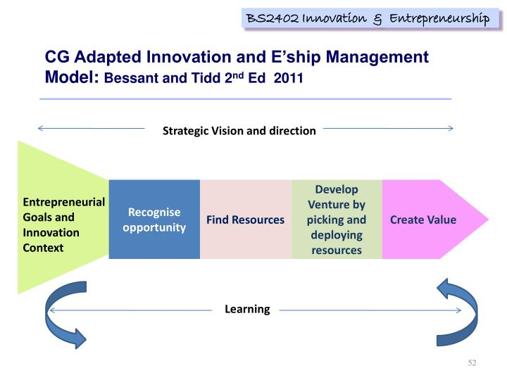 CG Adapted Innovation and E'ship Management Model: